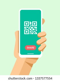 Hand holds the smartphone with qr code and share button. Flat vector modern phone mock-up illustration
