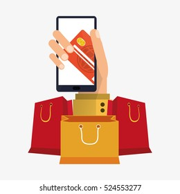 hand holds smartphone shopping online card bank