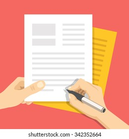 Hand holds some documents and hand with pen signs documents. Treaty signing concept. Modern flat design concept for web banners, web sites, printed materials, infographics. Flat vector illustration