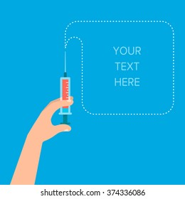 A Hand holds a syringe with a injection. Healthcare concept. Place for your text. Template for your design. Isolated vector illustration flat design.