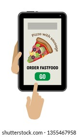 The hand holds the tablet, the other hand presses the button. Order food delivery online. Phone with a picture of a pizza and a button go. Isolated object on a transparent background.