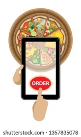 The hand holds the tablet, the other hand presses the button. Order food delivery online. Phone and pizza slice image and a button. Isolated object on a transparent background.
