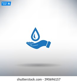 Hand holds water drop symbol.