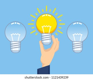 Hand holds working idea light bulb. Choosing the right startup, idea, creativity concept. Flat design vector illustration
