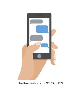 Hand holing black smartphone similar to iphon with blank speech bubbles for text. Text messaging flat design concept. Eps 10 vector illustration