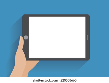 Hand holing tablet computer with blank screen. Using digital tablet pc similar to ipad, flat design concept. Eps 10 vector illustration