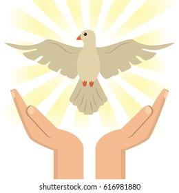 hand with holy spirit catholic