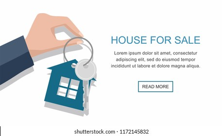 Hand with a house key isolated on white background. Vector web banner