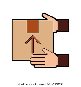 hand human with box carton delivery icon