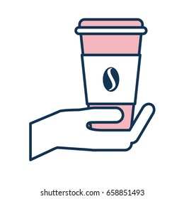 hand human with coffee plastic cup icon