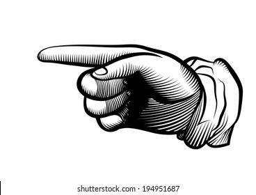 Hand of the human on white background. Pointing finger. Vector drawing.