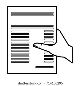 hand human with paper document isolated icon