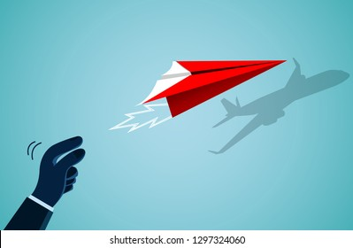 hand human who threw the red paper plane there is a shadow on the wall as an airplane. isolated on background blue. business success goal. creative idea. illustration cartoon vector