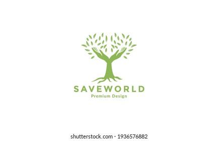 hand humanity with tree logo vector symbol icon illustration design