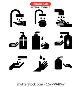 hand hygiene icon or logo isolated sign symbol vector illustration - Collection of high quality black style vector icons