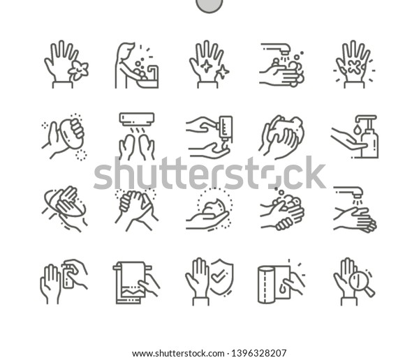 Hand hygiene Well-crafted Pixel Perfect Vector Thin Line Icons 30 2x Grid for Web Graphics and Apps. Simple Minimal Pictogram