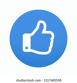Hand icon in blue circle. Vector illustration. EPS 10