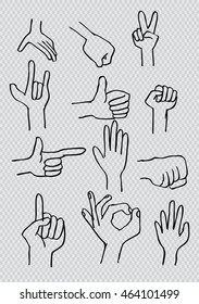 Hand icon collection. Sketchy style.