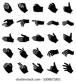 Hand icon collection - vector silhouette illustration