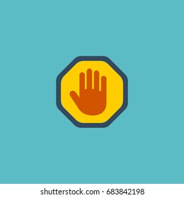 Hand Icon Flat Palm Element. Vector Illustration Of Flat Hand Icon Stop Forbidden Isolated On Clean Background.