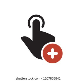 Hand icon, gestures icon with add sign. Hand icon and new, plus, positive symbol. Vector illustration