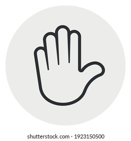 Hand icon. Human palm. Stop sign. Round background isolated on white. Drop-in audio chat community.