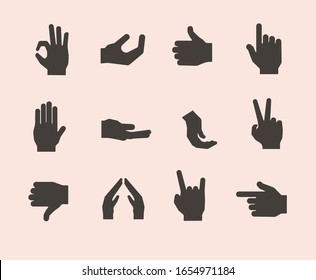 hand icon isolated sign symbol vector illustration, different hands, gestures, signals and signs.