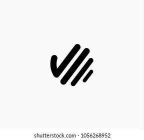 Hand icon, outline stylized palm symbol. Hello silhouette linear logo template. Modern line concept, vector illustration. Business emblem with finger.