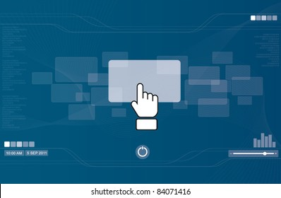 hand icon pushing rectangle button on  touchscreen, technology concept