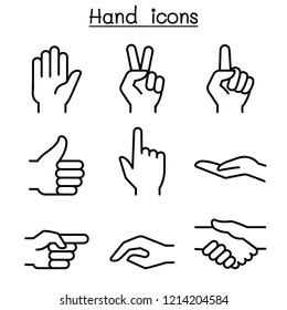 Hand icon set in thin line style
