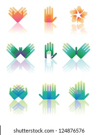 Hand Icon Symbol Set Vector EPS 8 no open shapes or paths.