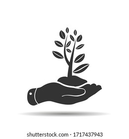 hand icon that takes care of plant sprouting from ground. concept of caring for nature. Symbol of ecology,  nature protection concept.