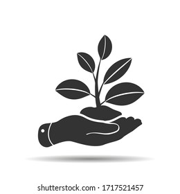hand icon that takes care of plant sprouting from ground. concept of caring for nature. leaves in palm of your arm. Symbol of ecology, environmental awareness, nature protection concept.
