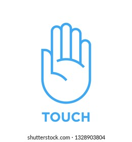 Hand icon. Touch symbol. Human palm sign. Blue vector graphic line style illustration isolated on white background.