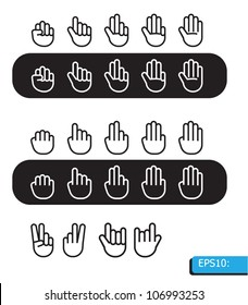 hand icon vector set black and white line