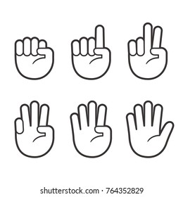 Hand icons with finger count. Hand gesture symbols, counting by bending fingers. Vector clip art illustration.