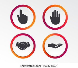 Hand icons. Handshake successful business symbol. Click here press sign. Human helping donation hand. Infographic design buttons. Circle templates. Vector