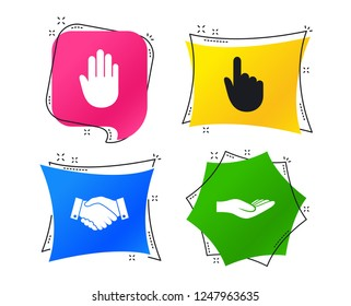 Hand icons. Handshake successful business symbol. Click here press sign. Human helping donation hand. Geometric colorful tags. Banners with flat icons. Trendy design. Vector
