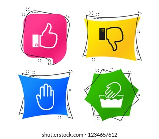 Hand icons. Like and dislike thumb up symbols. Not machine washable sign. Stop no entry. Geometric colorful tags. Banners with flat icons. Trendy design. Vector