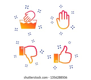 Hand icons. Like and dislike thumb up symbols. Not machine washable sign. Stop no entry. Random dynamic shapes. Gradient hand icon. Vector