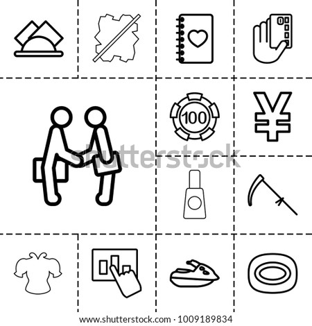 Hand Icons Set 13 Editable Outline Stock Vector (Royalty