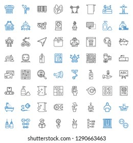 hand icons set. Collection of hand with buttons, jail, growth, plant, reading, dumbbell, boxing glove, hand wash, robot, conveyor, towel, bathtub. Editable and scalable icons.