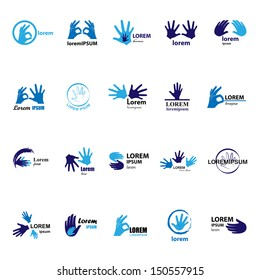 Hand Icons Set - Isolated On White Background - Vector Illustration, Graphic Design Editable For Your Design. Hand Logo