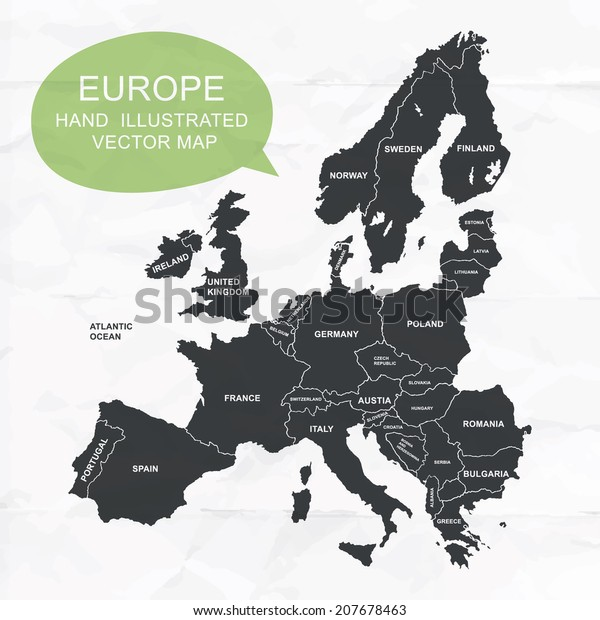 Hand illustrated vector map of Europe. Detailed illustration of states.