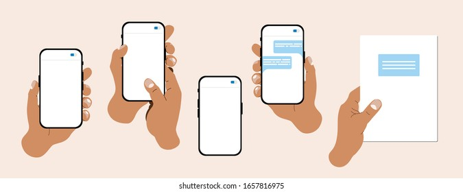 Hand illustration set. Modern vector hands holding note book, cell phones with a text message on a screen. Web, App design infographics. Popular, trendy flat illustrations.