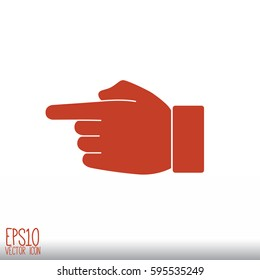 Hand indicating the direction. Flat style for graphic and web design, Modern simple vector sign. Internet concept. Trendy symbol for website design web button, mobile app.