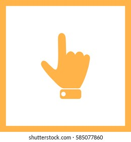Hand indicating the direction to the top.Vector icon.