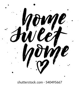 "Hand ink lettering ""Home sweet home"" with heart. Dry brush lettering. Vector illustration. Hand lettering typography poster. Can be used for housewarming posters, greeting cards, home decorations."