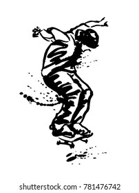Hand Ink Sketch Skateboarder. Vector illustration