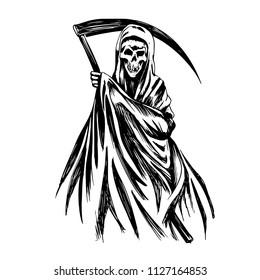 Hand Inked Grim Reaper Illustration black and white